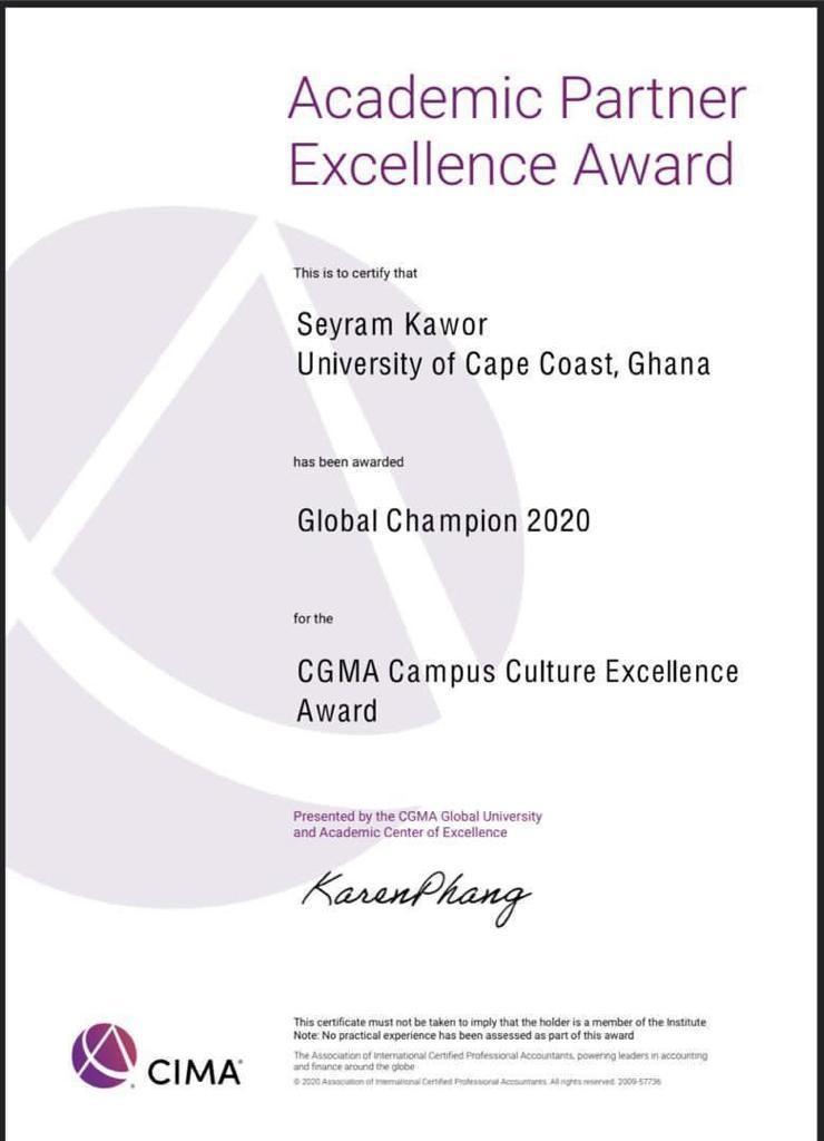 CIMA Excellence Award