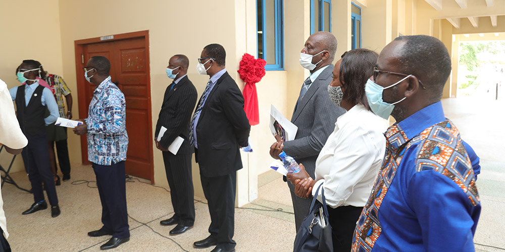 The Registrar, some Provosts, Deans and student leaders at the inauguration of the Student Financial Support Office