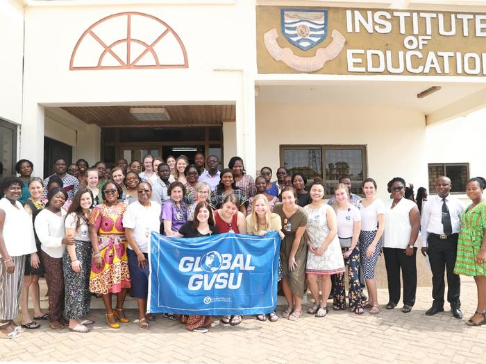 The GVSU team with staff of the School of Nursing and Midwifery