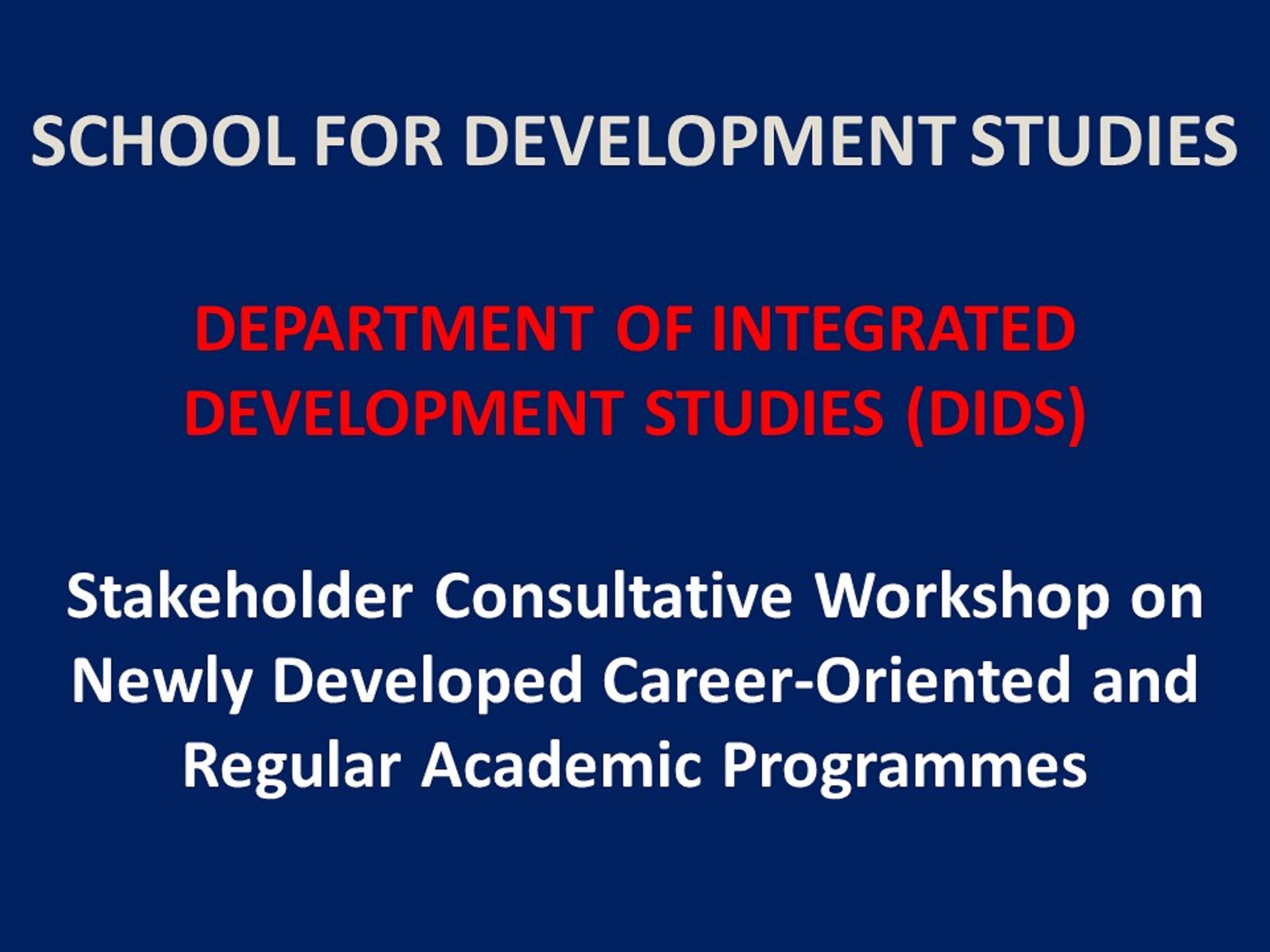 Department of Integrated Development Studies, UCC